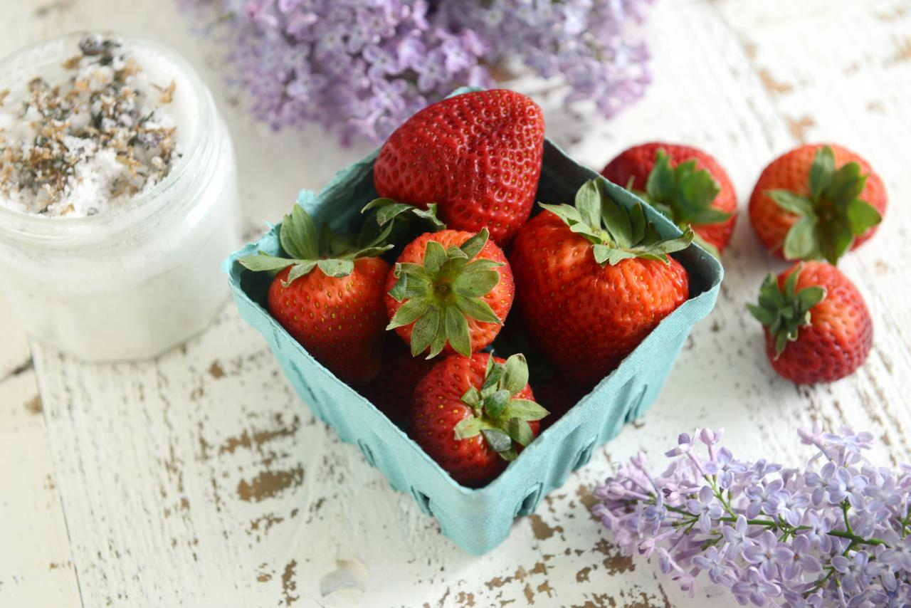 Lilac Sugar Strawberries