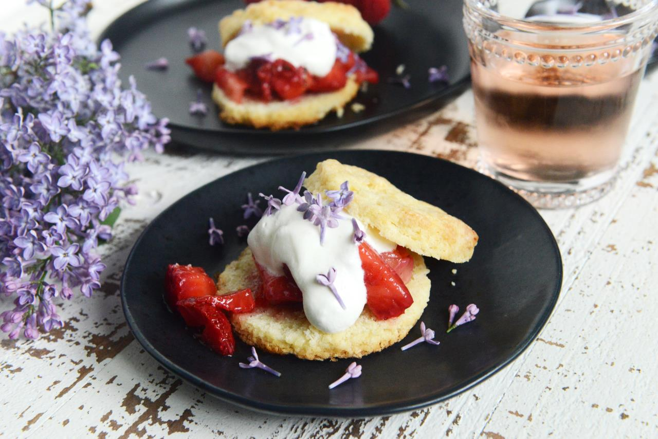 Lilac Sugar Strawberry Shortcakes